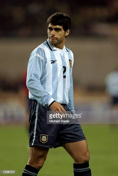 Roberto Ayala of Argentina in action during the International Friendly against Spain played at the Estadio Olympico in Seville Spain Argentina won...