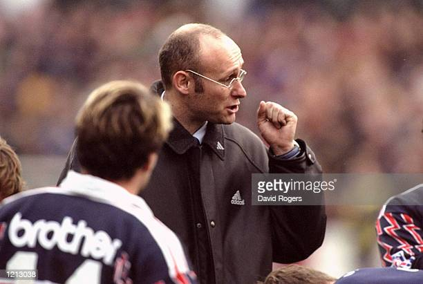 Stade Francais coach Bernard Laporte gives his team talk during the Heineken Cup match against Leicester at Welford Road in Leicester England...