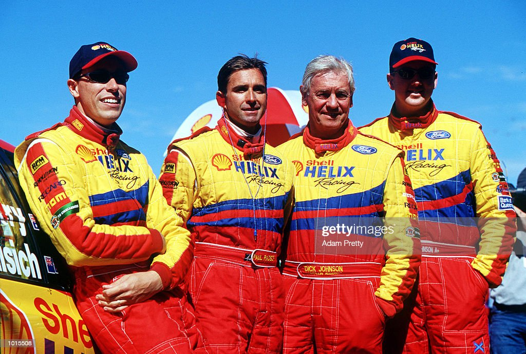 Steve Ellery, Paul Radisich ,Dick Johnson and Steven Johnson from the Shell Helix racing team pose for a photograph before the Bathurst FAI 1000 at Mount Panorama,Bathurst Australia. Mandatory Credit: Adam Pretty/ALLSPORT