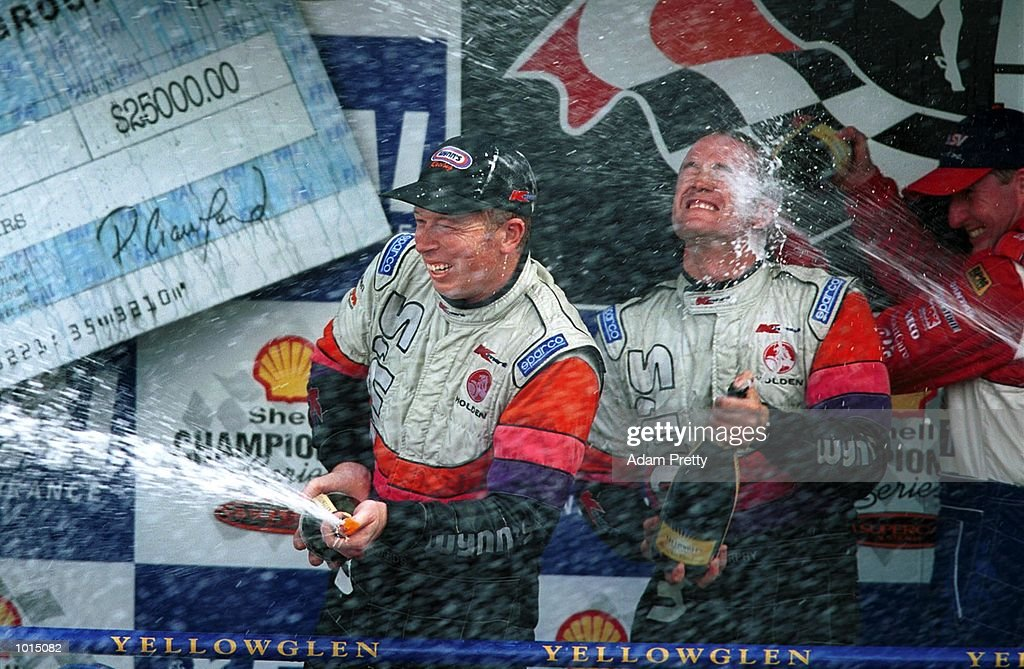 Steve Richards of Australia and Greg Murphy of New Zealand celebrate after winning the FAI 1000 for the V8 Supercars, Mount Panorama, Bathurst Australia. Mandatory Credit: Adam Pretty/ALLSPORT