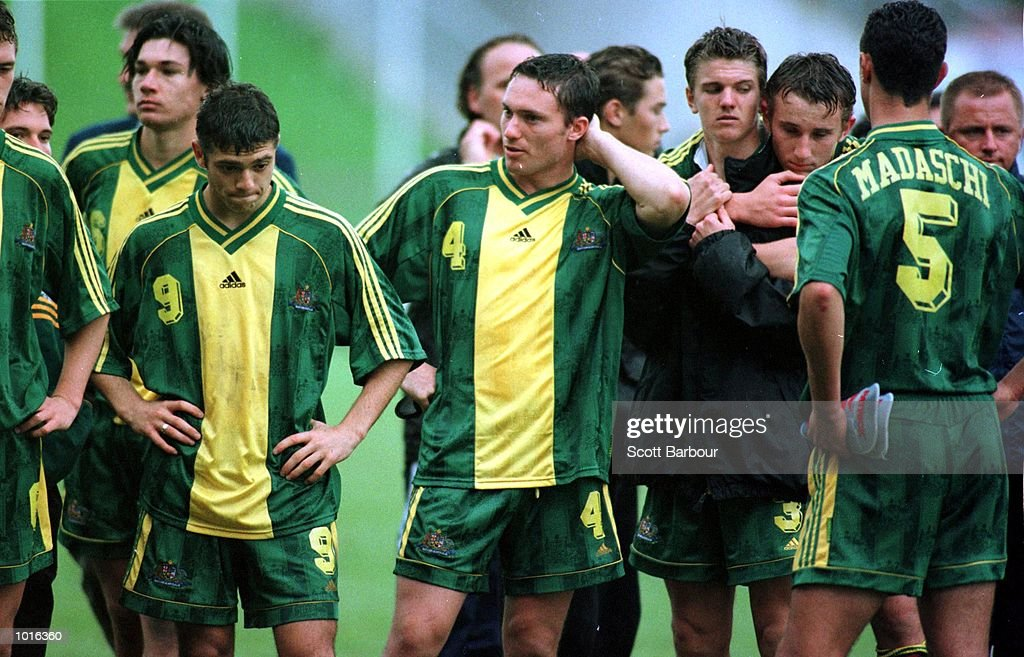 The Australian team are dejected as Brazil win the FIFA Under 17 World Cup soccer final at the North Harbour Stadium, Auckland, New Zealand. Mandatory Credit: Scott Barbour/ALLSPORT