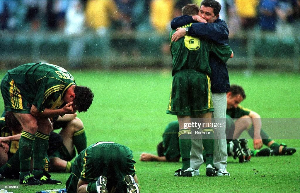 The Australian team is dejected after losing on penalties as Brazil win the FIFA Under 17 World Cup soccer final at the North Harbour Stadium, Auckland, New Zealand. Brazil won the penalty shoot out 8-7. Mandatory Credit: Scott Barbour/ALLSPORT