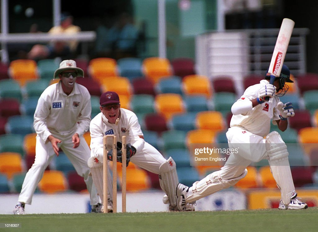 Wade Seccombe of Queensland stumps Sadagoppan Ramesh of India at the Gabba cricket ground in Brisbane. Mandatory Credit: Darren England/ALLSPORT