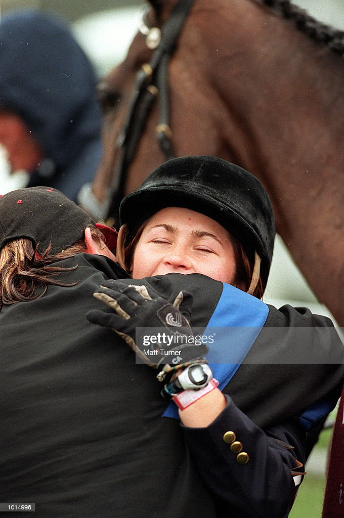 Winner Natalie Blundell of NSW on Billy Bathgate celebrates her win during the Adelaide International horse trials-Cross Country at Victoria Park, Adelaide, Australia. Mandatory Credit: Matt Turner/ALLSPORT