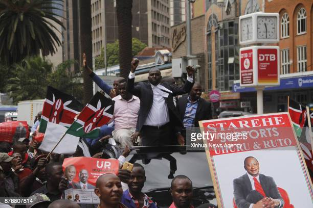 NAIROBI Nov 20 2017 Supporters of Jubilee Party celebrate outside the Supreme Court in Nairobi capital of Kenya Nov 20 2017 Kenya's Supreme Court on...