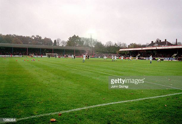 A general view of the FA Cup First Round match between Aldershot and Brighton played at the Recreation Ground in Aldershot England Brighton won the...