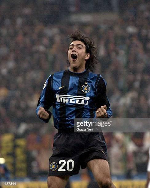 Alvaro Recoba of Inter celebrates after scoring during the Inter Milan v AS Roma Serie A match played at the San Siro Stadium Milan Mandatory Credit...