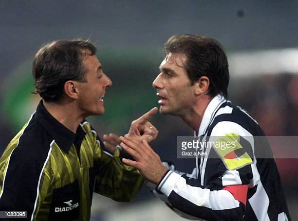 Antonio Conte of Juventus argues with a linesman during the Serie A 6th Round League match between Juventus and Lazio played at the Delle Alpi...