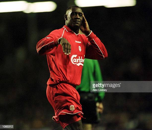 Emile Heskey of Liverpool celebrates scoring during the match between Liverpool and Coventry City in the FA Carling Premiership at Anfield Liverpool...