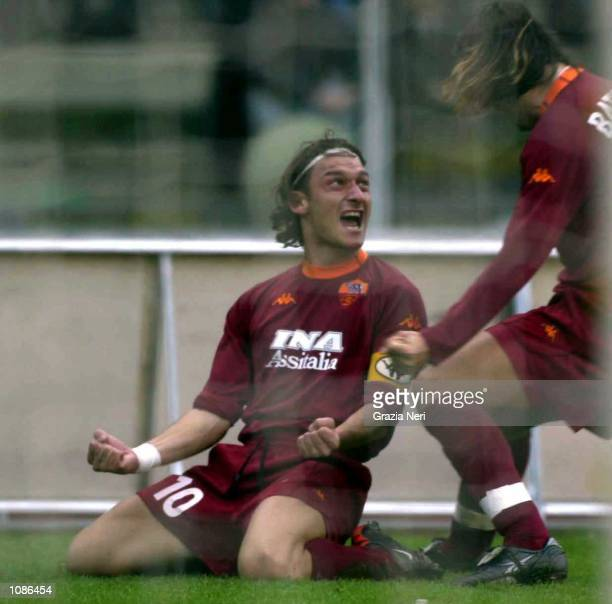 Gabriel Omar Batistuta and Francesco Totti of Roma celebrate scoring a goal during the Serie A 7th round league match between Verona and Roma played...