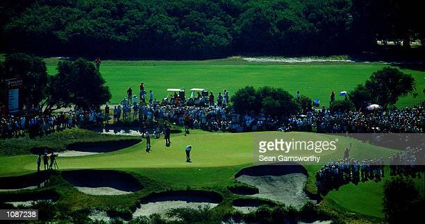 General view of Nick Faldo putting during the 2000 Holden Australian Open Golf tournament at Kingston Heath Golf course in Melbourne Australia...