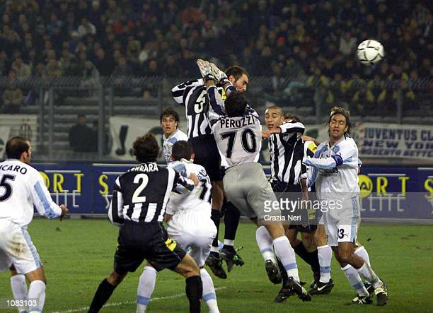 Igor Tudor of Juventus scores the first goal of the match during the during the Serie A 6th Round League match between Juventus and Lazio played at...
