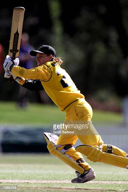 Joanne Broadbent of Australia in action during the New Zealand v Australia match in the 2000 CricInfo Womens Cricket World Cup match played at BIL...