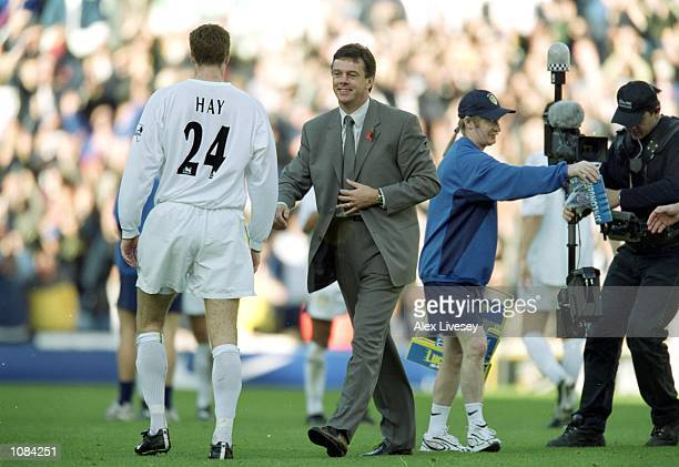 Leeds United manager David O''Leary celebrates with Danny Hay of Leeds United after the FA Carling Premiership match against Liverpool played at...