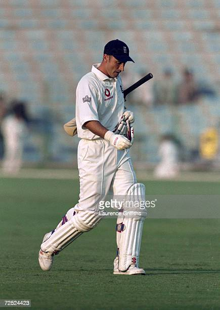 Nasser Hussain departs after another disappointing score during the first Test Match against Pakistan at the Gaddafi Stadium in Lahore Pakistan...