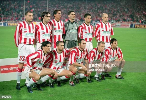 Olympiakos team lineup before the UEFA Cup 3rd round 1st leg match against Liverpool played at the Olympic Stadium in Athens Greece The match ended...