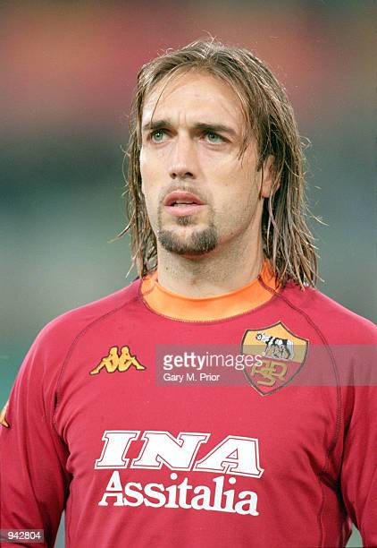 Portrait of Gabriel Batistuta of Roma before the UEFA Cup second round second leg match against Boavista played at the Stadio Olympico in Rome Italy...