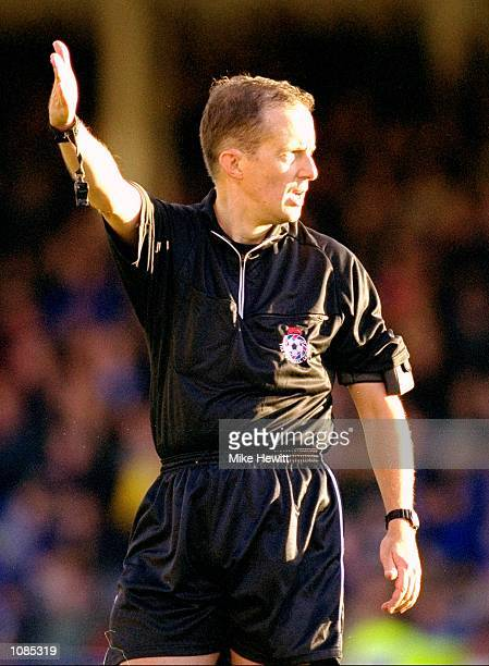 Referee D Crick in charge of the Nationwide League Division One match between Gillingham and Nottingham Forest at Priestfield Stadium in Gillingham...