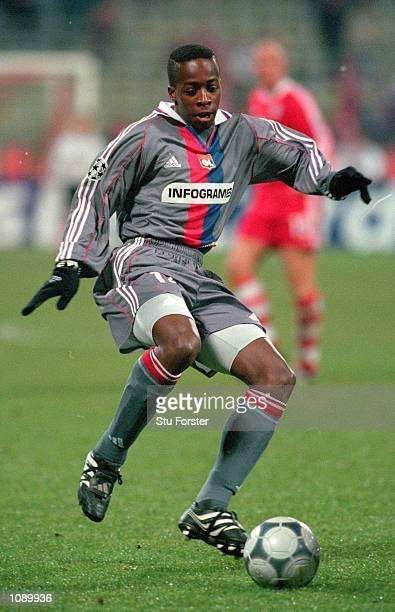 Sidney Govou of Lyon in action during the UEFA Champions League match against Bayern Munich played at the Olympic Stadium in Munich Germany Bayern...