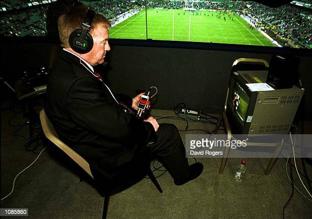 Video referee Brian Sterling pictured just before kickoff in the international match between England and Australia at Twickenham London Today's match...