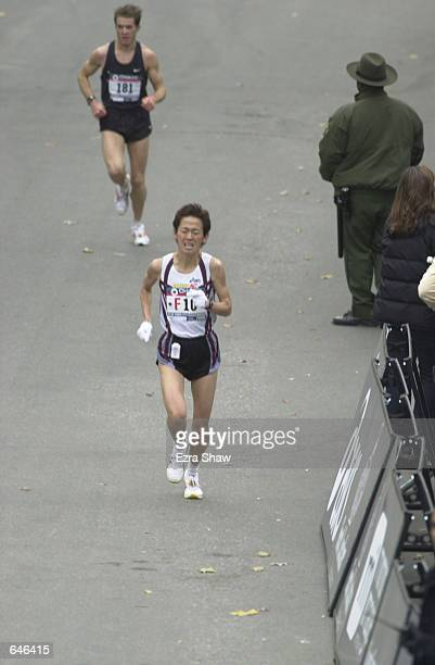 Yuko Arimori of Japan nears the finish line of the New York City Marathon Arimori finished in a time of 23112 to take 10th place Mandatory Credit...