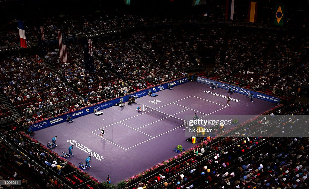 A general view of the match between Juan Carlos Ferrero of Spain and Goran Ivanisevic of Croatia during the Tennis Masters Cup held at the Sydney Superdome, Sydney, Australia. DIGITAL IMAGE Mandatory Credit: Nick Laham/ALLSPORT