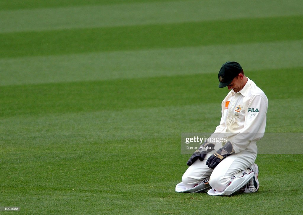 Adam Gilchrist of Australia shows his disappointment after the failed run out attempt of Matthew Bell of New Zealand during day three of the first Cricket test between Australia and New Zealand played at the Gabba in Brisbane, Australia. DIGITAL IMAGE. Mandatory Credit: Darren England/ALLSPORT