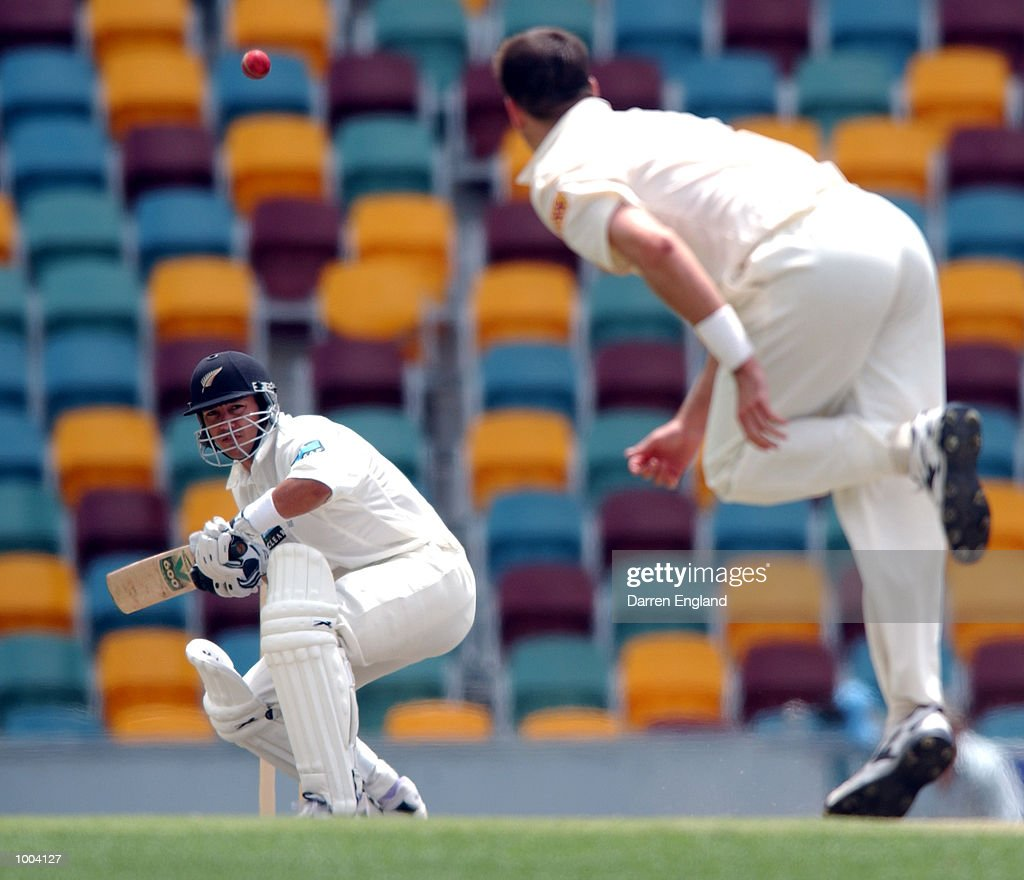 Adam Parore of New Zealand ducks under a bouncer bowled by Michael Kasprowicz of Queensland during the New Zealand versus Queensland cricket match played at the Gabba in Brisbane, Australia. The match is part of the New Zealand team's tour of Australia. DIGITAL IMAGE. Mandatory Credit: Darren England/ALLSPORT