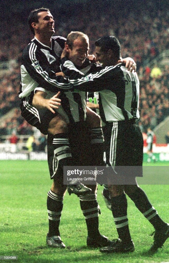 Alan Shearer of Newcastle celebrates his goal during the match between Newcastle United and Aston Villa in the FA Barclaycard Premiership at St James Park, Newcastle. Mandatory Credit: Laurence Griffiths/ALLSPORT