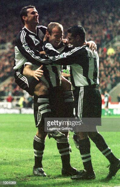 Alan Shearer of Newcastle celebrates his goal during the match between Newcastle United and Aston Villa in the FA Barclaycard Premiership at St James...