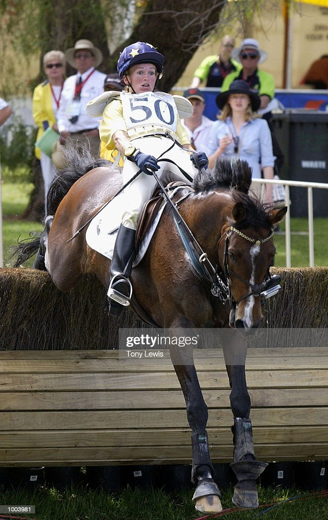 Amanda Ross of Australia on Wynella Rialto jumps awkwardly in the cross-country section of the Adelaide International Horse trials held at Victoria Park in Adelaide, Australia. DIGITAL IMAGE. Mandatory Credit: Tony Lewis/ALLSPORT