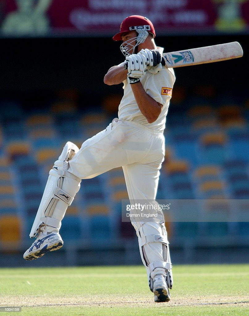 Andrew Symonds of Queensland hits four runs against New Zealand during the New Zealand versus Queensland cricket match played at the Gabba in Brisbane, Australia. The match is part of the New Zealand team's tour of Australia. DIGITAL IMAGE.Mandatory Credit: Darren England/ALLSPORT