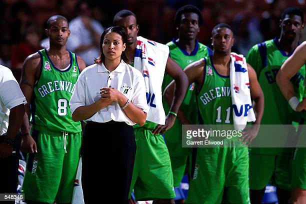 Assistant coach Stephanie Ready of the Greenville Groove watches her team battle the North Charleston Lowgators during the NBDL game at the BILO...