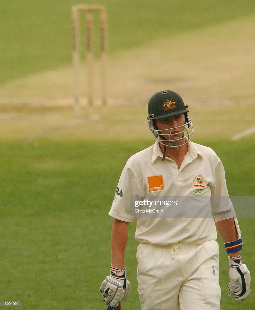 Brett Lee of Australia after being given out during day three of the first cricket test between Australia and New Zealand held at the Gabba, Brisbane, Australia, DIGITAL IMAGE Mandatory Credit: Chris McGrath/ALLSPORT