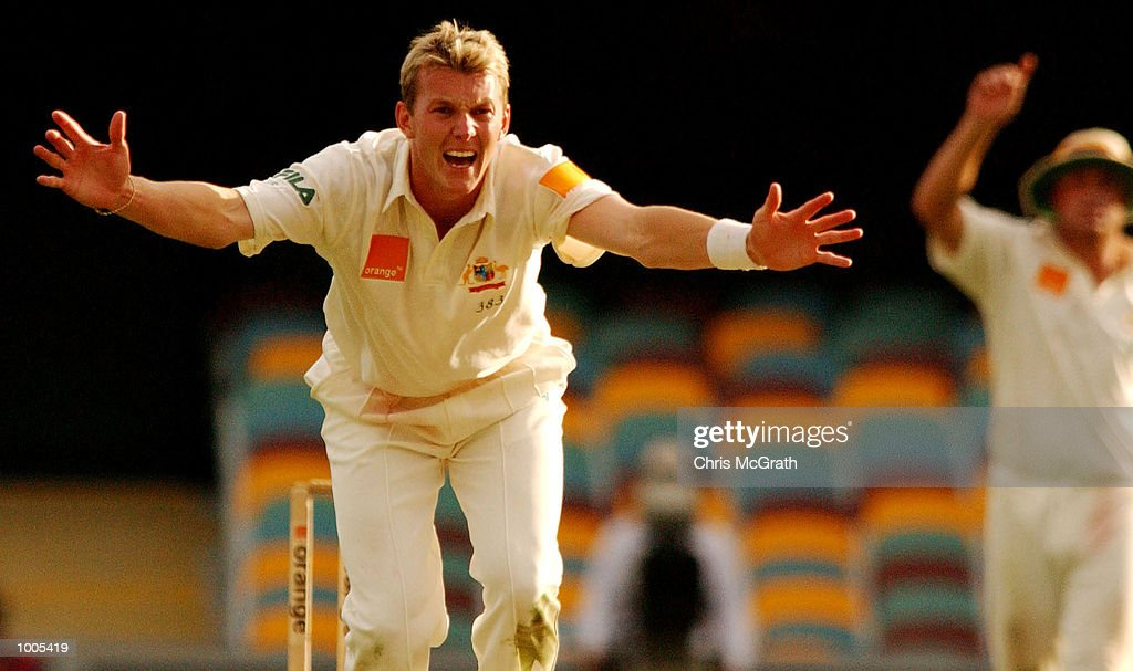 Brett Lee of Australia appeals a wicket during day five of the first cricket test between Australia and New Zealand held at the Gabba, Brisbane, Australia, DIGITAL IMAGE Mandatory Credit: Chris McGrath/ALLSPORT