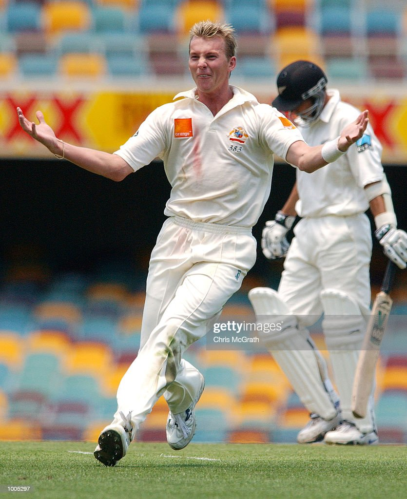 Brett Lee of Australia celebrates after claiming the wicket of Adam Parore of New Zealand during day five of the first cricket test between Australia and New Zealand held at the Gabba, Brisbane, Australia, DIGITAL IMAGE Mandatory Credit: Chris McGrath/ALLSPORT