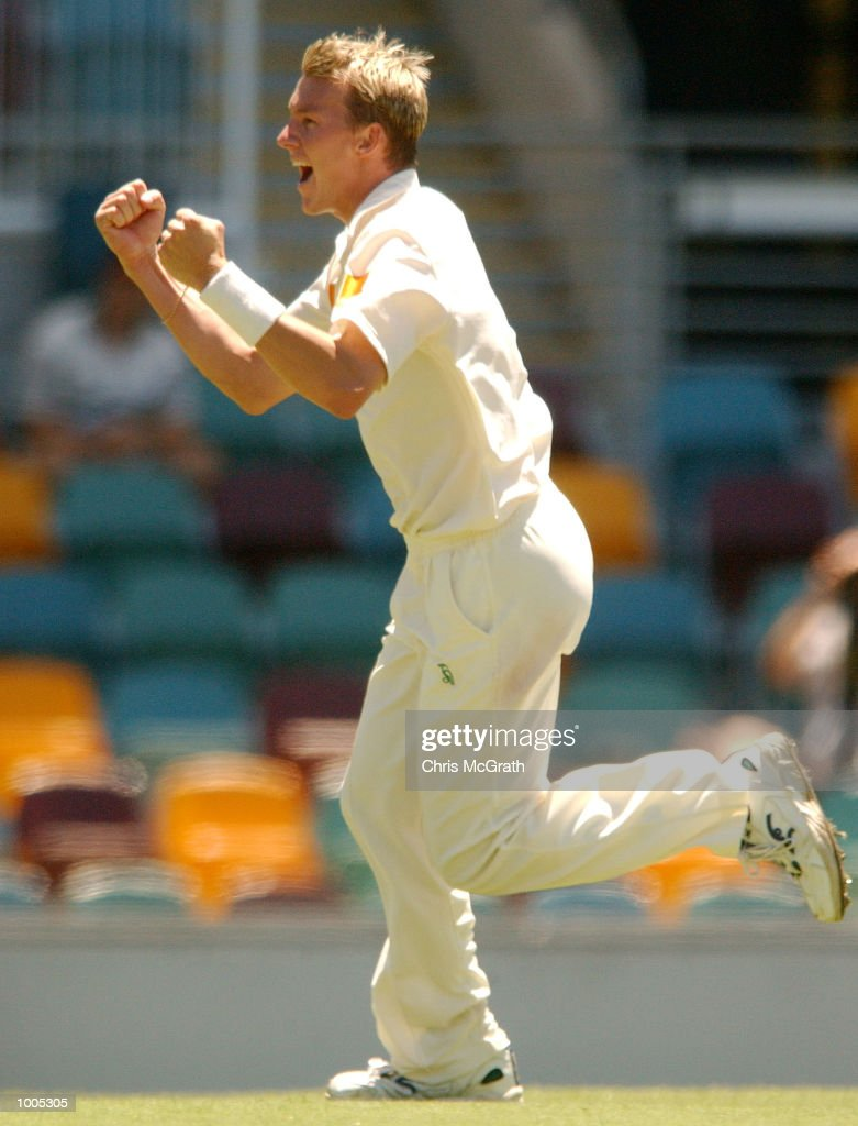 Brett Lee of Australia celebrates after taking a wicket during day five of the first cricket test between Australia and New Zealand held at the Gabba, Brisbane, Australia, DIGITAL IMAGE Mandatory Credit: Chris McGrath/ALLSPORT