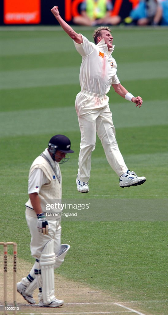 Brett Lee of Australia celebrates getting the wicket of Craig McMillan of New Zealand for 45 runs during day four of the first Cricket test between Australia and New Zealand played at the Gabba in Brisbane, Australia. DIGITAL IMAGE. Mandatory Credit: Darren England/ALLSPORT
