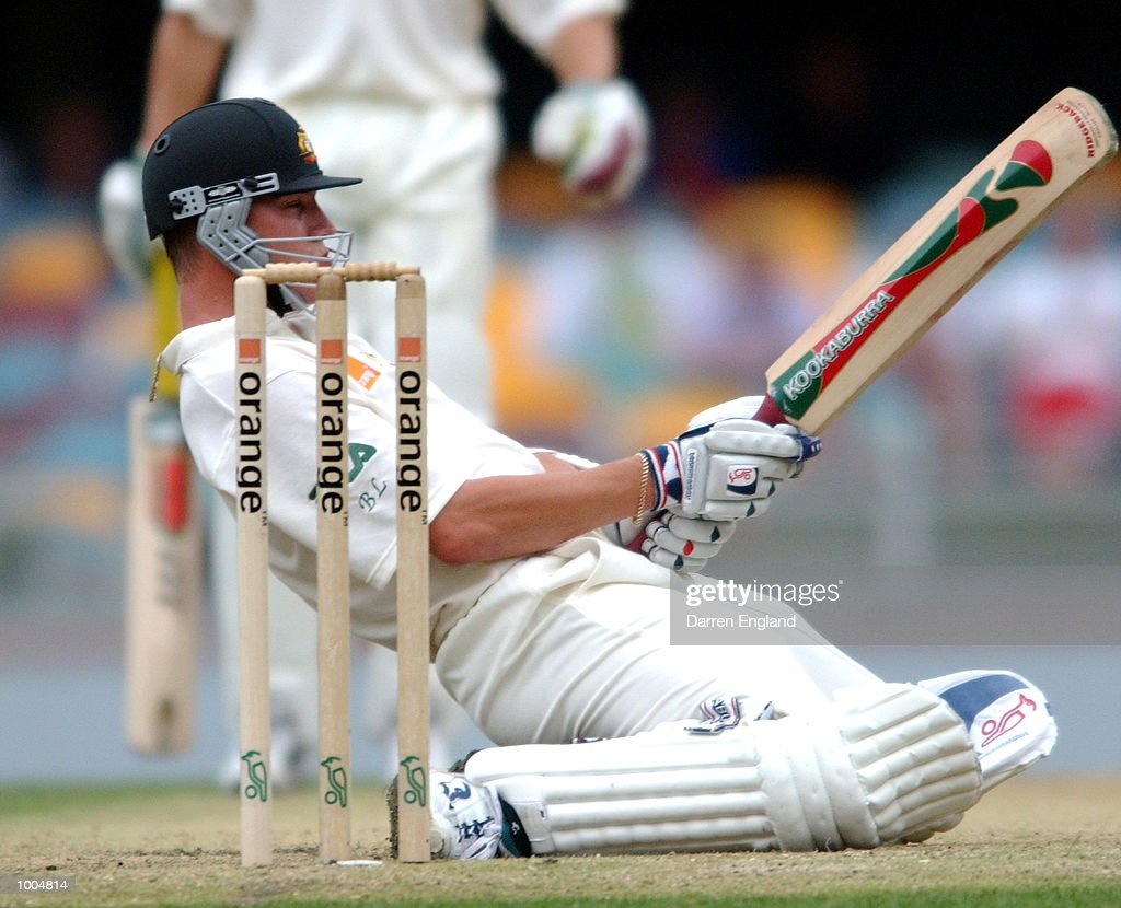 Brett Lee of Australia ducks under a bouncer bowled by Craig McMillan of New Zealand during day two of the first Cricket test between Australia and New Zealand played at the Gabba in Brisbane, Australia. DIGITAL IMAGE. Mandatory Credit: Darren England/ALLSPORT