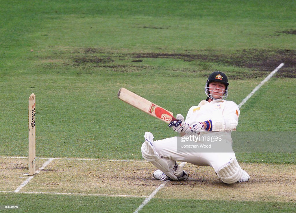 Brett Lee of Australia ducks under a bouncer during the second day of play in the first Test between Australia and New Zealand being played at the Gabba, Brisbane, Australia. DIGITAL IMAGE. Mandatory Credit: Jonathan Wood/ALLSPORT