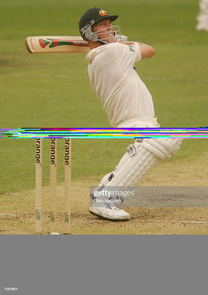 Brett Lee of Australia hits a six during day two of the first cricket test between Australia and New Zealand held at the Gabba, Brisbane, Australia, DIGITAL IMAGE Mandatory Credit: Chris McGrath/ALLSPORT