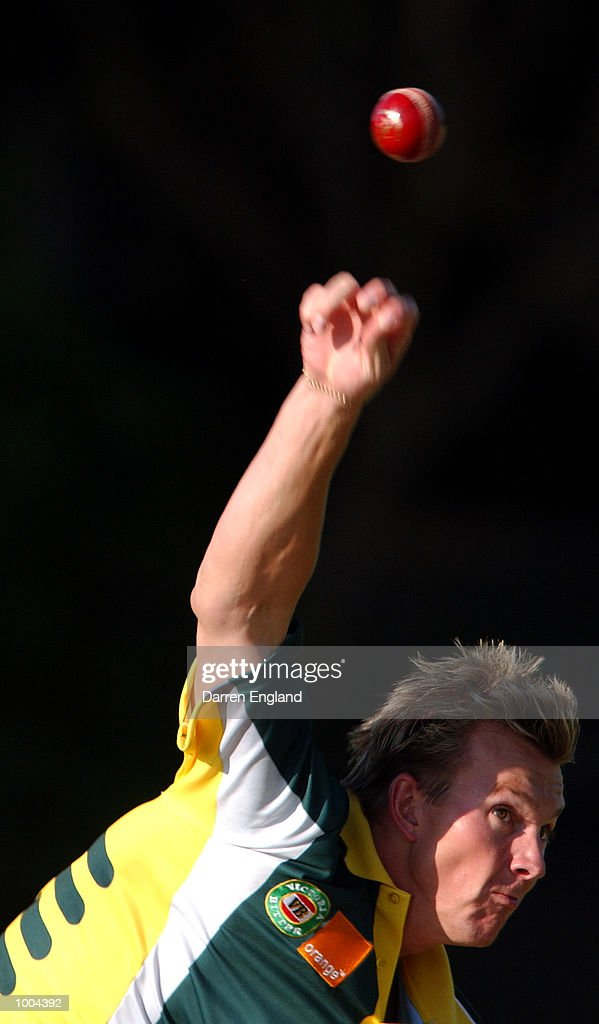 Brett Lee of Australia in action bowling during training for the Australian Cricket team in preperation for the first test against New Zealand. The Training session was held at the Allan Border Field in Brisbane, Australia. DIGITAL IMAGE.Mandatory Credit: Darren England/ALLSPORT