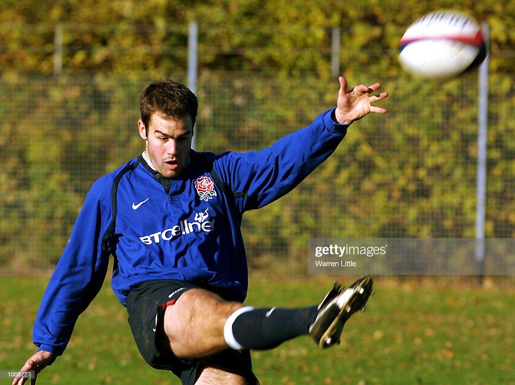 Charlie Hodgson of England kicks the ball up field during training at Sandhurst Acadamy in Camberley, Surrey. DIGITAL IMAGE. Mandatory Credit: Warren Little/ALLSPORT