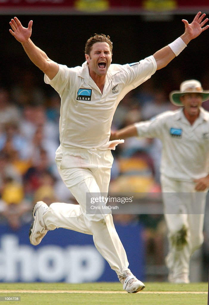 Chris Cairns celebrates taking a wicket which was later disallowed by the video umpire during day one of the first cricket test between Australia and New Zealand held at the Gabba, Brisbane, Australia, DIGITAL IMAGE Mandatory Credit: ChrisMcGrath/ALLSPORT
