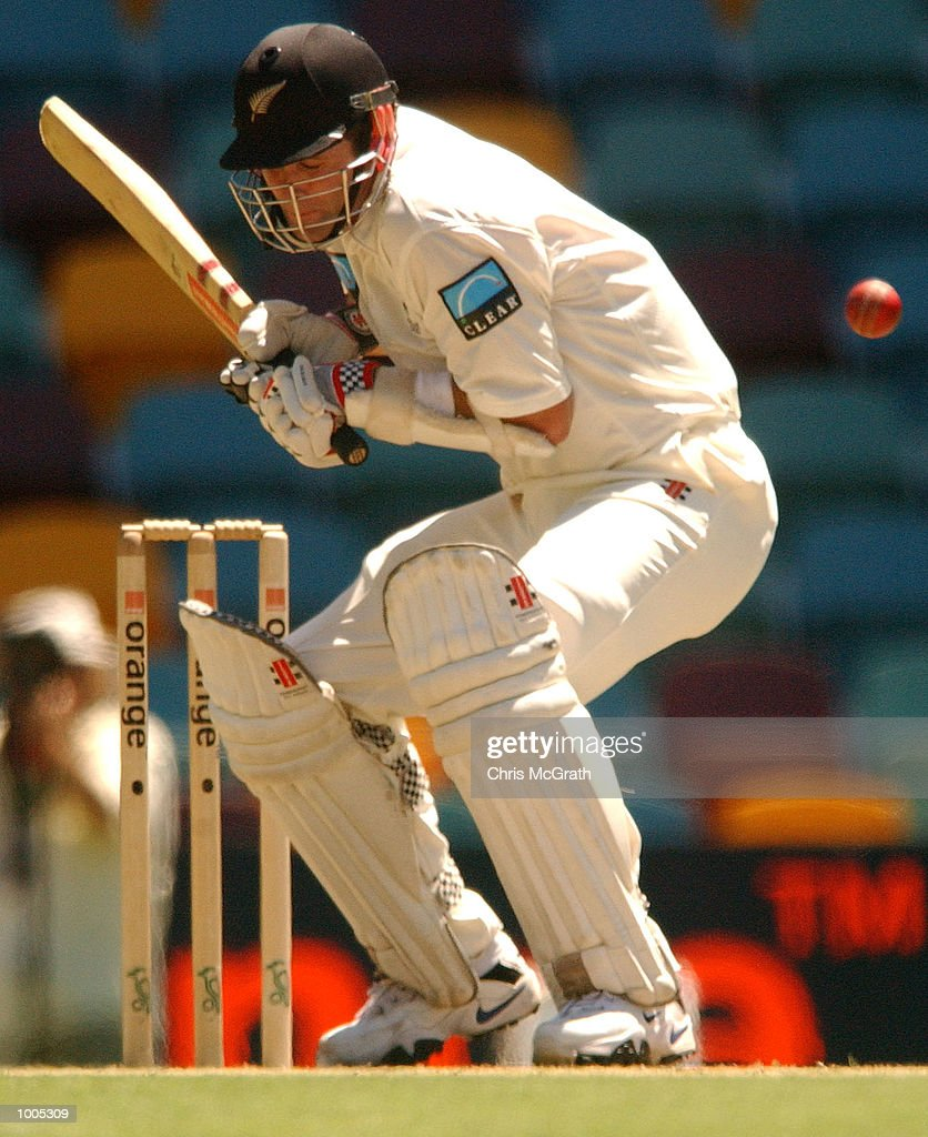 Chris Cairns of New Zealand ducks under a bouncer during day five of the first cricket test between Australia and New Zealand held at the Gabba, Brisbane, Australia, DIGITAL IMAGE Mandatory Credit: Chris McGrath/ALLSPORT