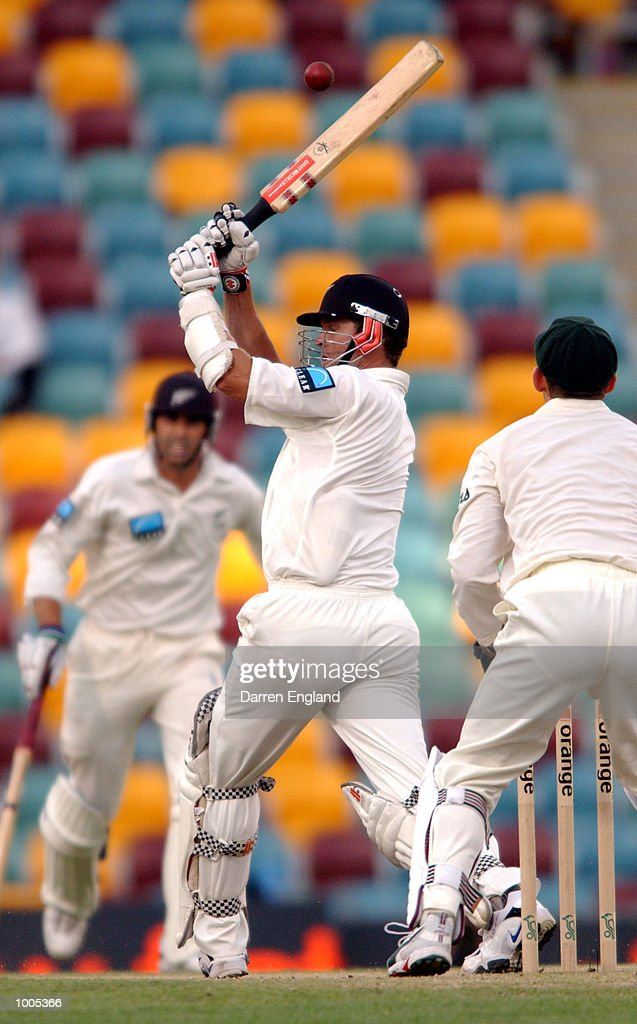 Chris Cairns of New Zealand in action against Australia during day five of the first Cricket test between Australia and New Zealand played at the Gabba in Brisbane, Australia. DIGITAL IMAGE. Mandatory Credit: Darren England/ALLSPORT