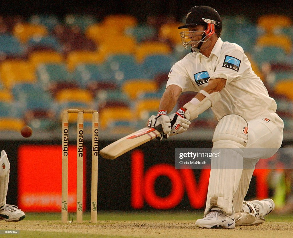 Chris Cairns of New Zealand in action during the last session of play during day five of the first cricket test between Australia and New Zealand held at the Gabba, Brisbane, Australia, DIGITAL IMAGE Mandatory Credit: Chris McGrath/ALLSPORT