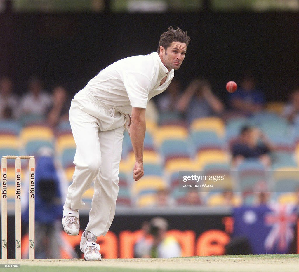 Chris Cairns of New Zealand in action during the second day of play in the first Test between Australia and New Zealand being played at the Gabba, Brisbane, Australia. DIGITAL IMAGE. Mandatory Credit: Jonathan Wood/ALLSPORT