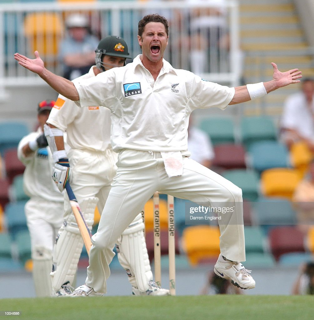 Chris Cairns of New Zealand unsuccessfully appeals for the wicket of Justin Langer of Australia during day one of the first Cricket test between Australia and New Zealand played at the Gabba in Brisbane, Australia. DIGITAL IMAGE. MandatoryCredit: Darren England/ALLSPORT