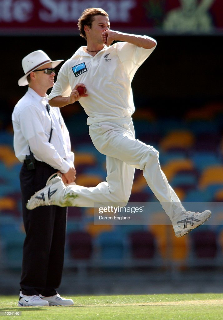 Chris Martin of New Zealand in action bowling against Queensland during the New Zealand versus Queensland cricket match played at the Gabba in Brisbane, Australia. The match is part of the New Zealand team's tour of Australia. DIGITAL IMAGE. Mandatory Credit: Darren England/ALLSPORT